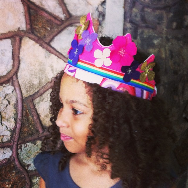 Nova's birthday crown - she requested pink, purple and rainbow. And flowers. And gold