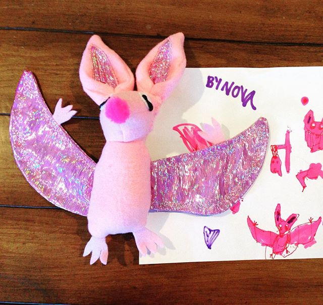 We made this for a special baby's first birthday today. Nova drew a tiny pink baby bat and we made i