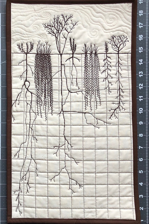 Roots #1 - quilted wall hanging 10x18""