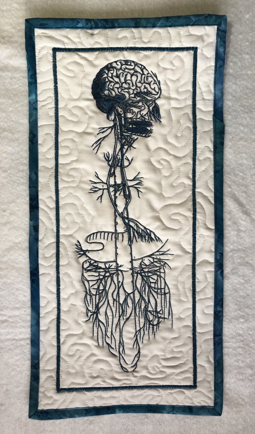 """Thumbnail: Vagus Nerve 8x16"""" quilted wall hanging"""
