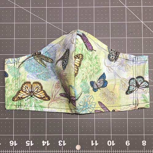 Butterflies on light green - Curved Fabric Face Mask
