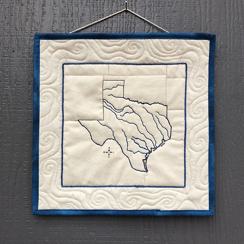 Texas Rivers - quilted wall hanging