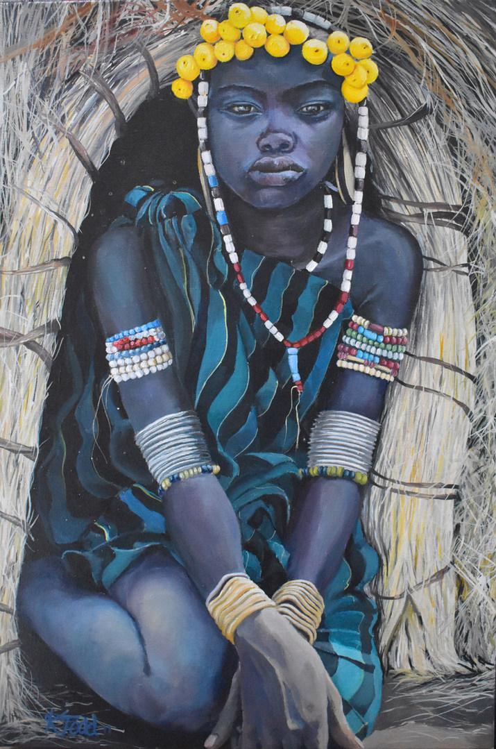 mursi girl at rest