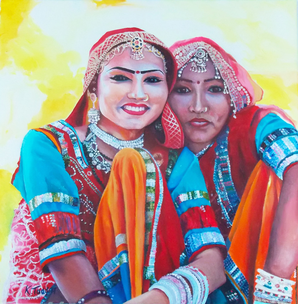 Original painting Acrylic on Canvas. Indian girls.