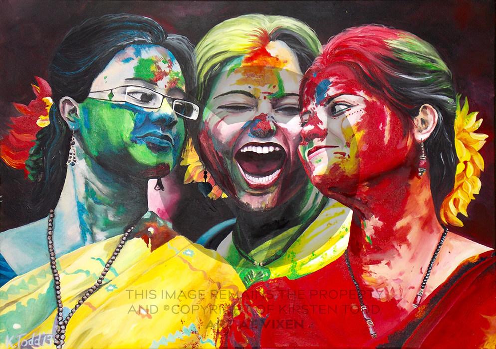 3 Girls Celebrate Holi