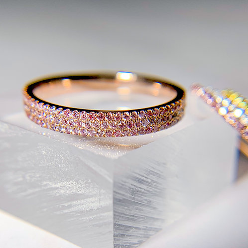 Three-row Argyle Fancy Intense Pink Diamond Half Eternity Band