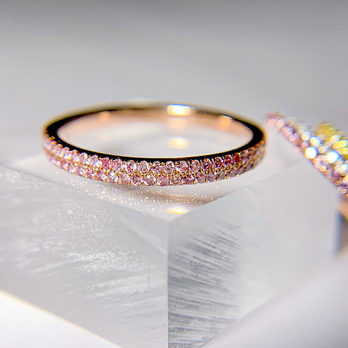 Two-row Argyle Fancy Intense Pink Diamond Half Eternity Band