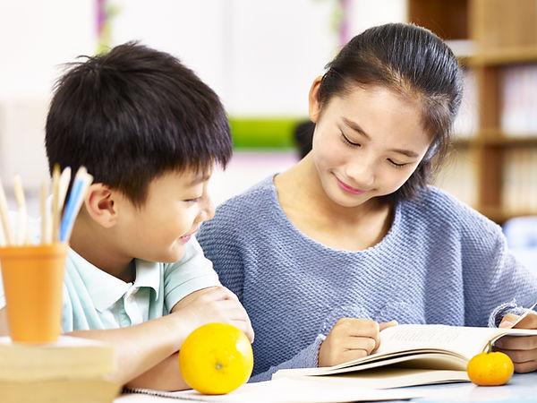 asian elementary school girl and schoolb