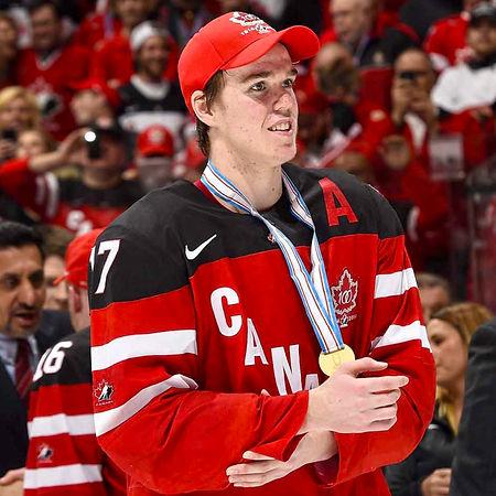 Hockey Canada 100th Anniversary Logo on Connor McDavid