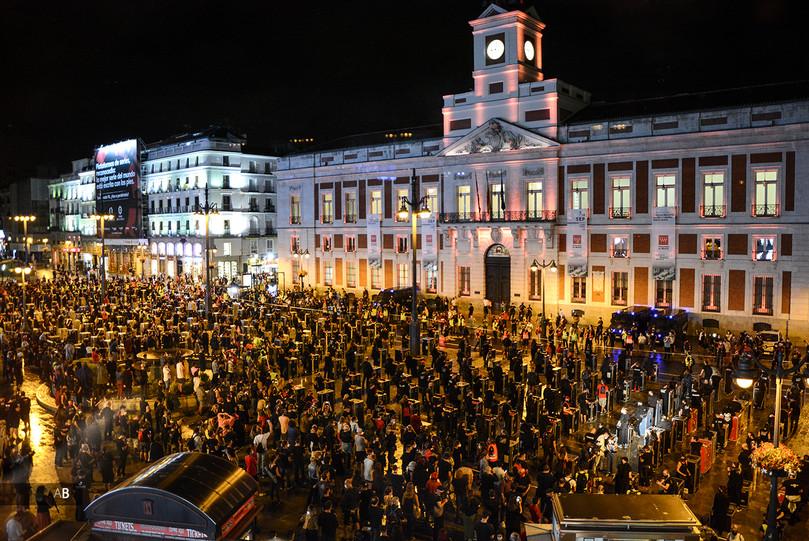 Manifestación Alerta Roja, el sector del espectáculo se moviliza por la crisis.