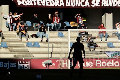 Partido del Pontevedra C.F. en el estadio de Pasarón (Pontevedra).