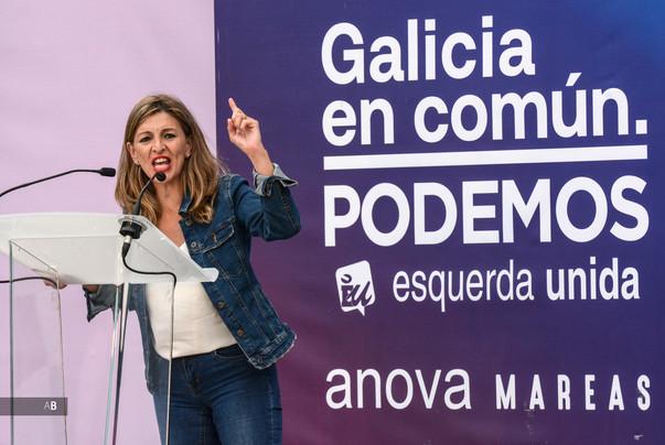 La ministra Yolanda Díaz en un mitin en Pontevedra en las elecciones al Parlamento de Galicia.
