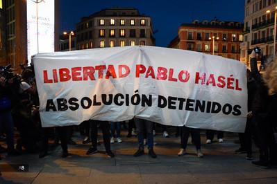 Manifestación por el encarcelamiento de Pablo Hasél.
