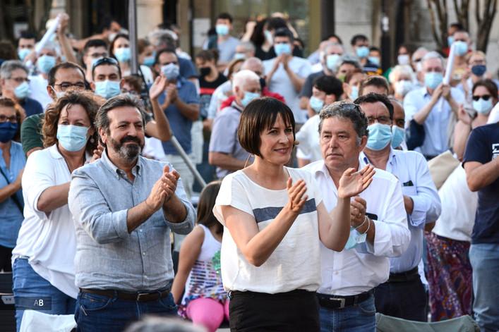 Mitin de Ana Pontón (BNG) en Pontevedra para las elecciones al Parlamento de Galicia.