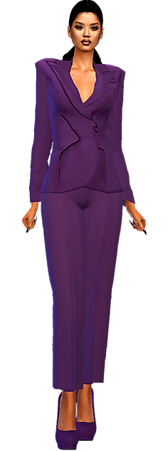 Blazer pants suit purple.png