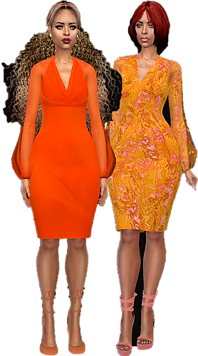two puff arm midlgth dresses 01.png