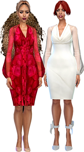 two puff arm midlgth dresses 02.png