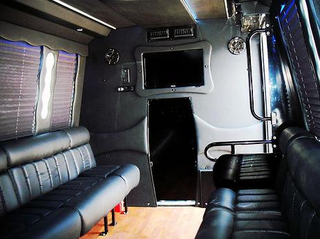 Inside 16 passenger limo bus