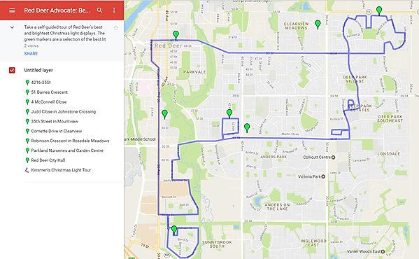 Red Deer Christmas lights tour map