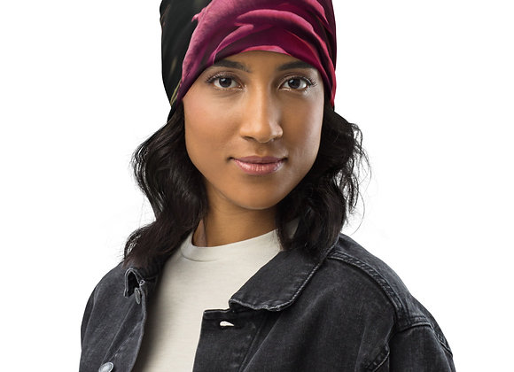 Rose and Leaf All-Over Print Beanie