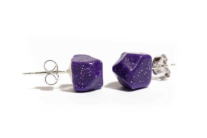Shiny Purple 'Stones' Earrings, clay earrings, Stud earrings, sparkly earrings