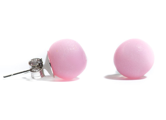 Pink Pearl style Studs, Pink Earrings, Shiny Earrings, Polymer Clay earrings