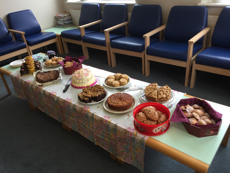 Pathology team host tea party to say thank you to the Friends for new chairs.