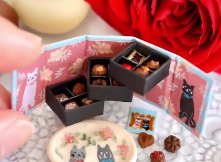 猫好きさんのためのチョコレート花柄3段BOX
