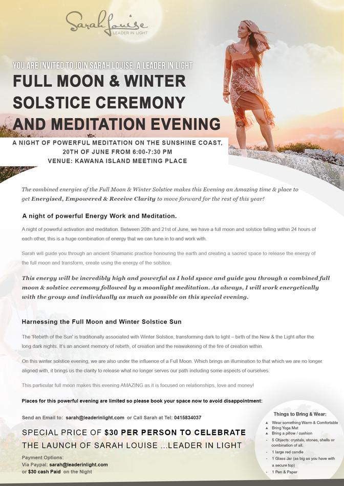 Full Moon & Winter Solstice Ceremony and Meditation Evening