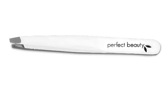 Perfect Beauty White Pro Tweezers - Slanted Tip