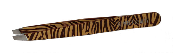 Brown Tiger Safari Tweezers - Slanted Tip