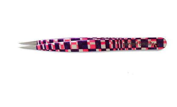 Pink & Purple Geometric Tweezers -Pointed Tip