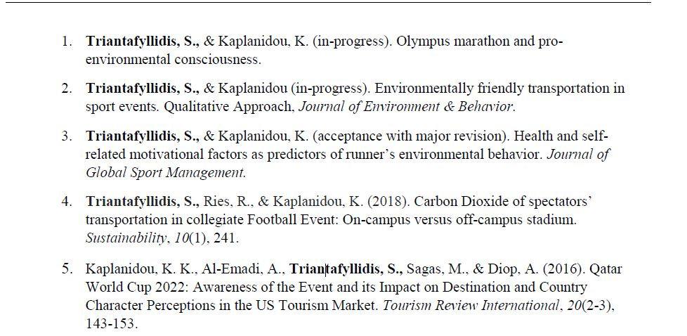 CV publications