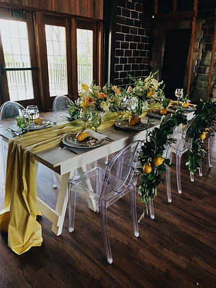 White Saw Horse Tables