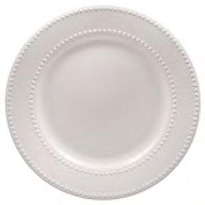 Beaded White Dinner Plate