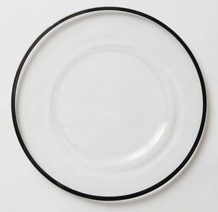 Glass Black Rim Dinner Plate