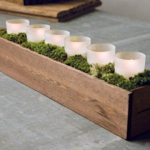 Wooden Box with LED Candles Centerpice