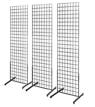 Black Freestanding Metal Grid Panel