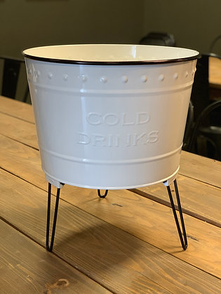 White metal drink stand