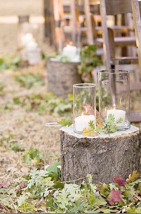 Wooden Stump & Glass Aisle Decor