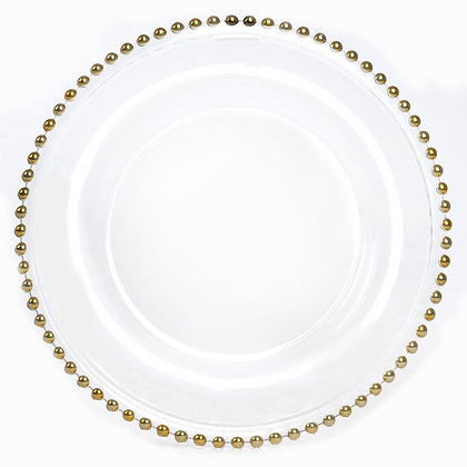 Clear Glass With Gold Bead Charger