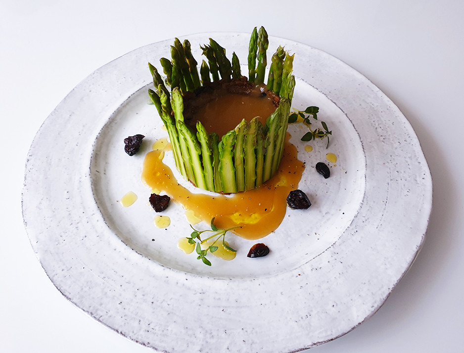 Asparagus Lentil and Cranberry Terrine with Truffle oil and Gravy