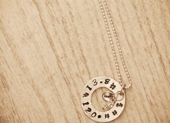 Custom Coordinates Hand Stamped Pewter Sterling Silver Necklace