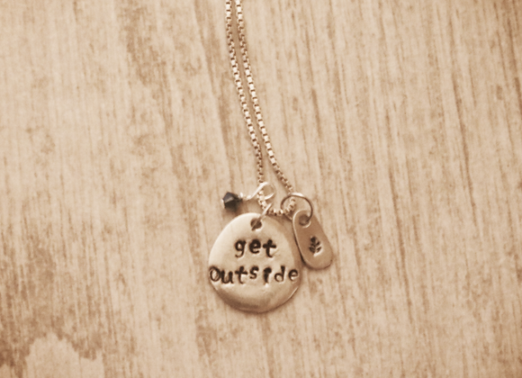 Get Outside - Hand Stamped Pewter & Sterling Silver Necklace