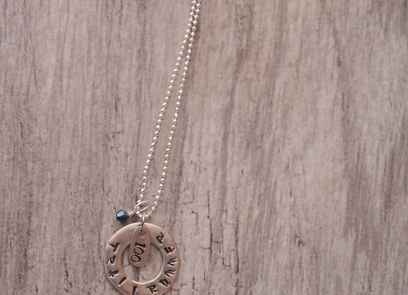 Custom Trail Runner - Hand Stamped Pewter Sterling Silver Necklace