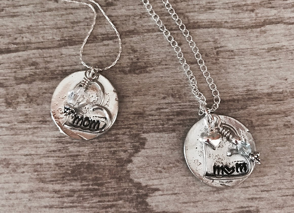 Simple 'Mom' in pewter & sterling
