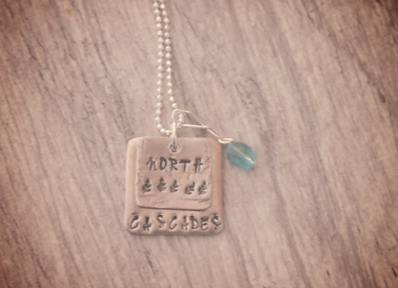 North Cascades - Hand Stamped Pewter & Sterling Silver Necklace