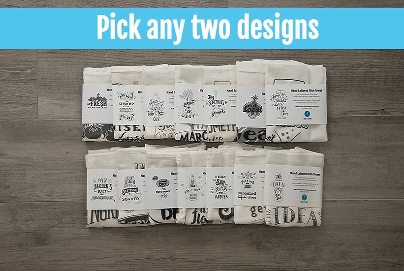 Two for $36, pick any two designs -  Cotton tea towel