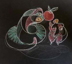 Eve et le serpent dessin 2018