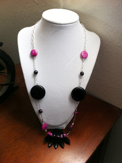 Hot Pink/Black Statement Necklace